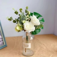 artificial monstera rose flower bridal bouquet for wedding decoration fake silk flowers hydrangea for christmas party ornaments
