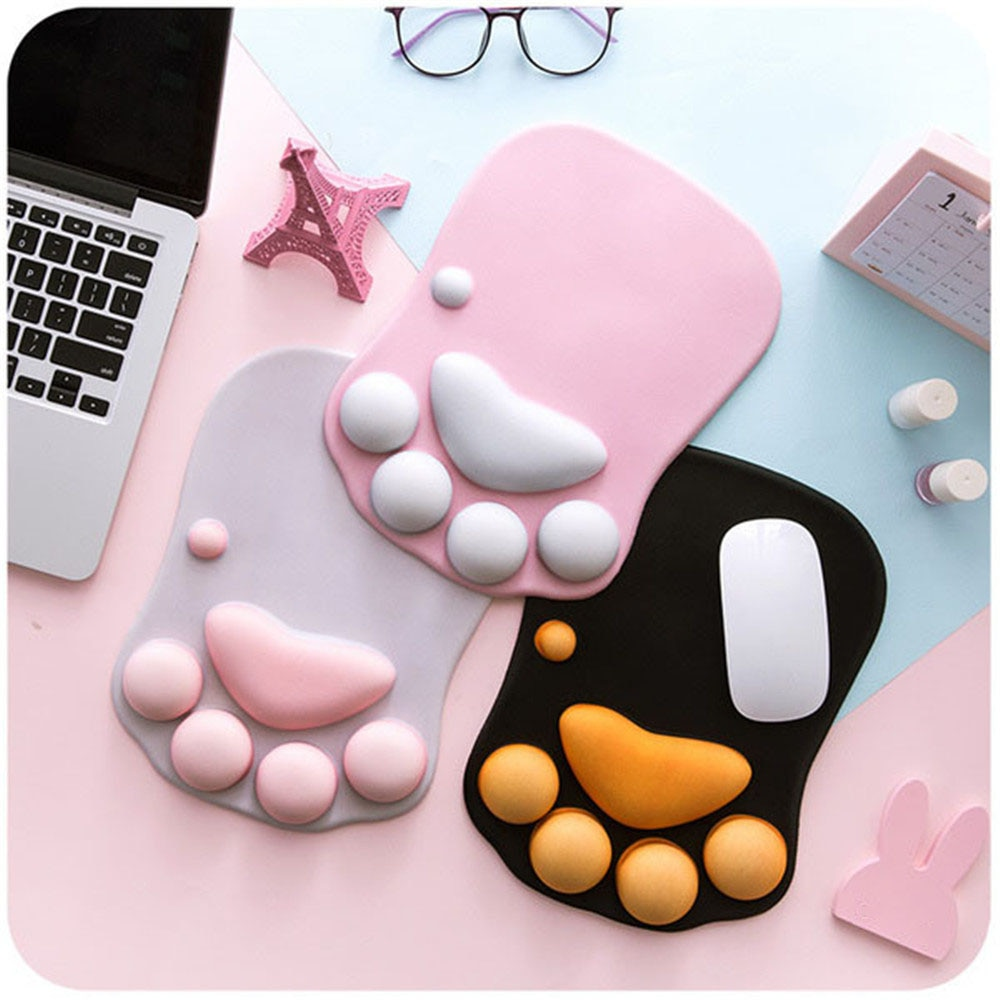 Cute Cat Paw Mouse Pad Kawaii Gaming Desk Pad Nonslip Silicone Wrist Mouse Pad Table Mat Laptop Game Computer Keyboard Desk Set