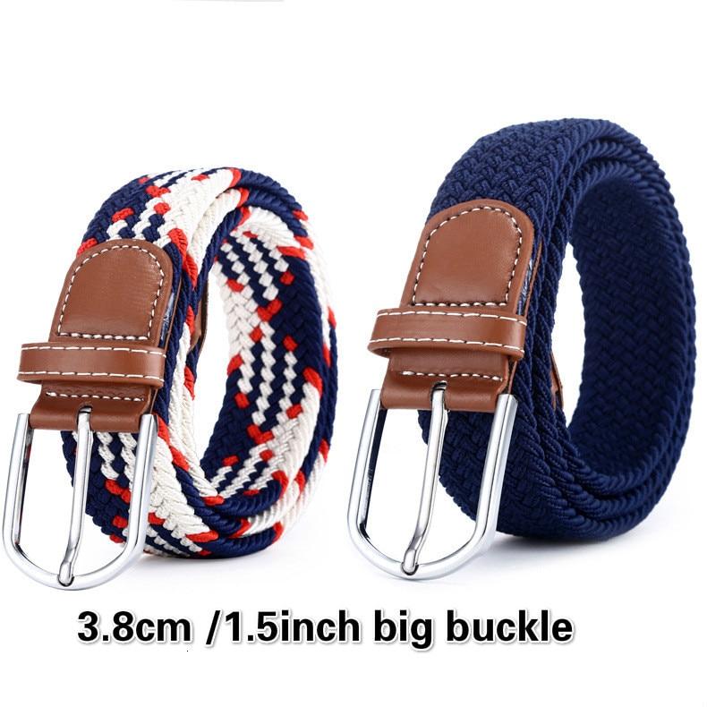 [PYBETA] Elastic Force Belt Men And Women Pin Buckle D Of Tightness Elastic Force Tide Waist Bands Canvas Weave Belt