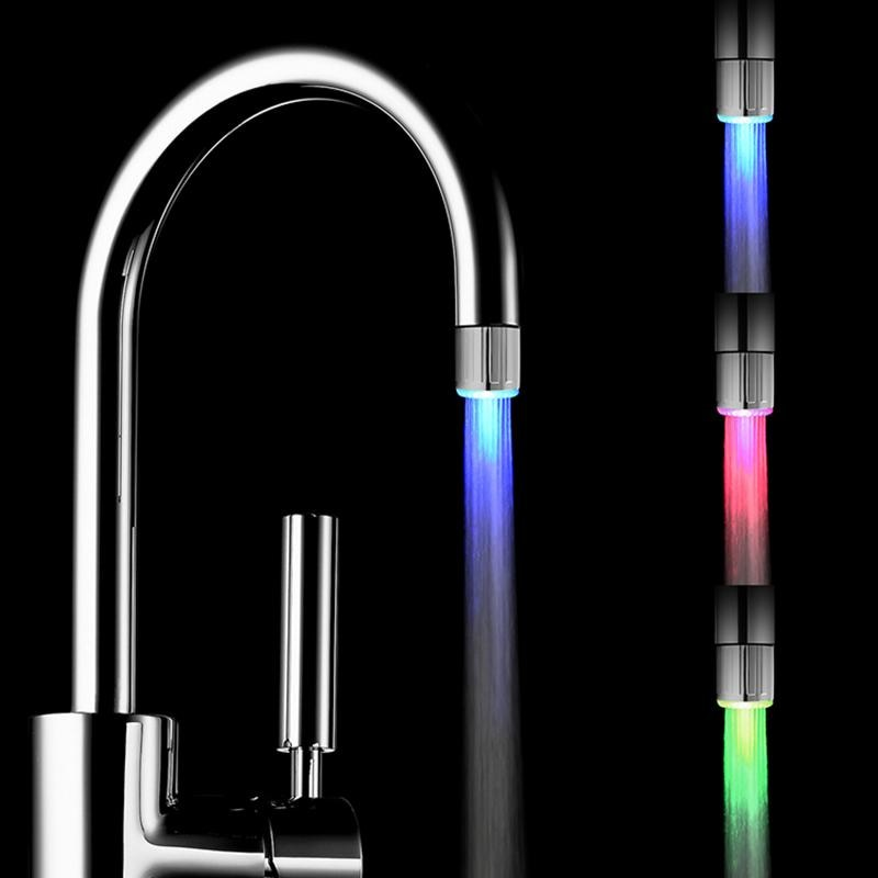 Fashion LED Water Faucet Stream Light 7 Colors Changing Glow Shower Tap Head Kitchen Pressure Sensor