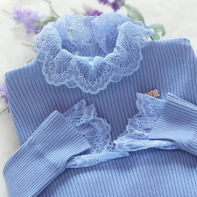 Nuevo de retazos de encaje de las mujeres, suéter de Otoño de manga larga de las mujeres Jersey azul suéteres casuales damas Jersey de punto para mujer P306