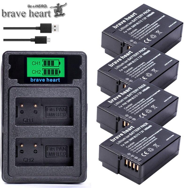 bateria DMW-BLC12 BLC12E BLC12PP DMW BLC12 Batteries + Dual Charger for Panasonic Lumix FZ1000,FZ200,FZ300,G5,G6,G7,GH2,DMC-GX8