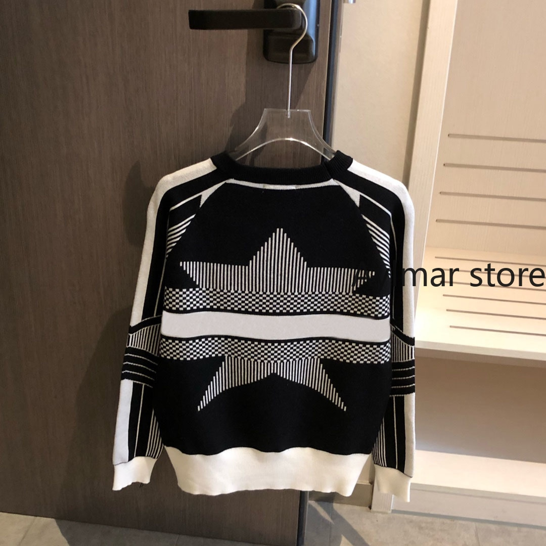 High quality  autumn winter new temperament women's letter jacquard long sleeve top short cashmere knitted sweater crop sweater enlarge