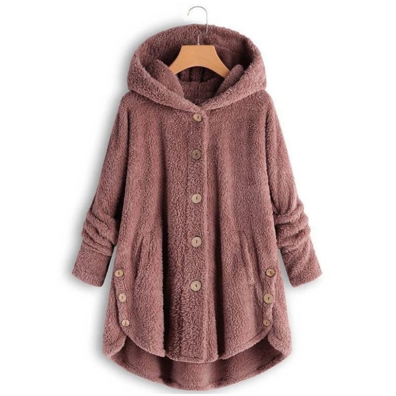 Invierno moda mujer botón Irregular leopardo abrigo sudaderas holgadas de talla grande 4xl Casual polar con capucha Teddy abrigo chaqueta sólida