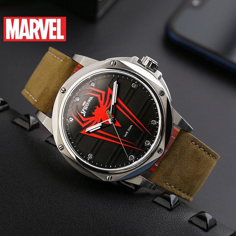 Disney Spider-Man Men's Quartz New Belt Marvel Watch Fashion Unique Waterproof Luminous Watch