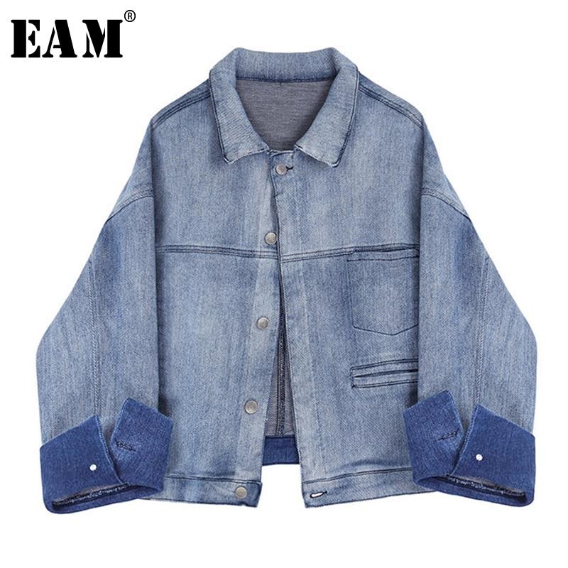 [EAM] chaqueta holgada con corte azul claro talla grande solapa nueva manga larga abrigo de mujer moda marea primavera otoño 2020 1Y797