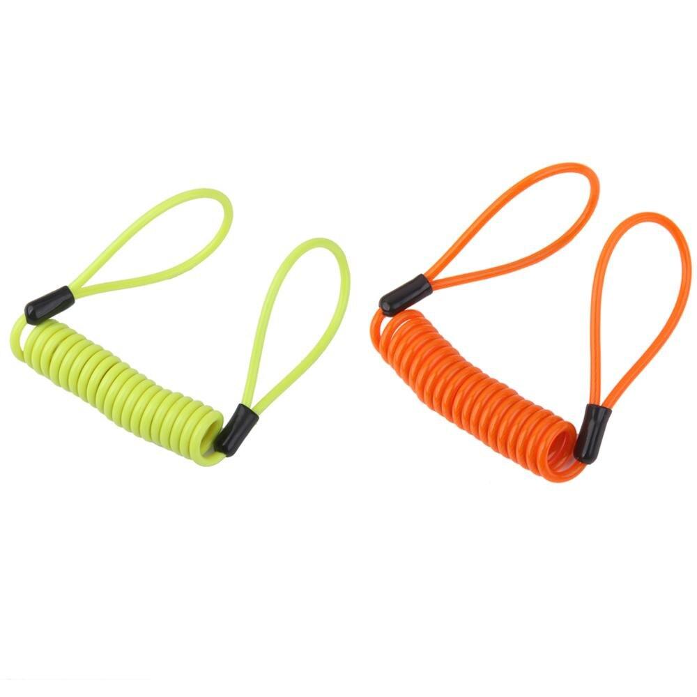 1Piece 1.2m Safety Lanyard Spring Coil Rope Disc Brake Lock Reminder Cable Steel PVC  for Disk Lock Reminder Brake Safety Strap