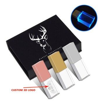 over 10pcs free logo Photography Customer crystal usb + gift box usb flash drive usb pen drive 8GB 16GB 32GB 64GB wedding gifts