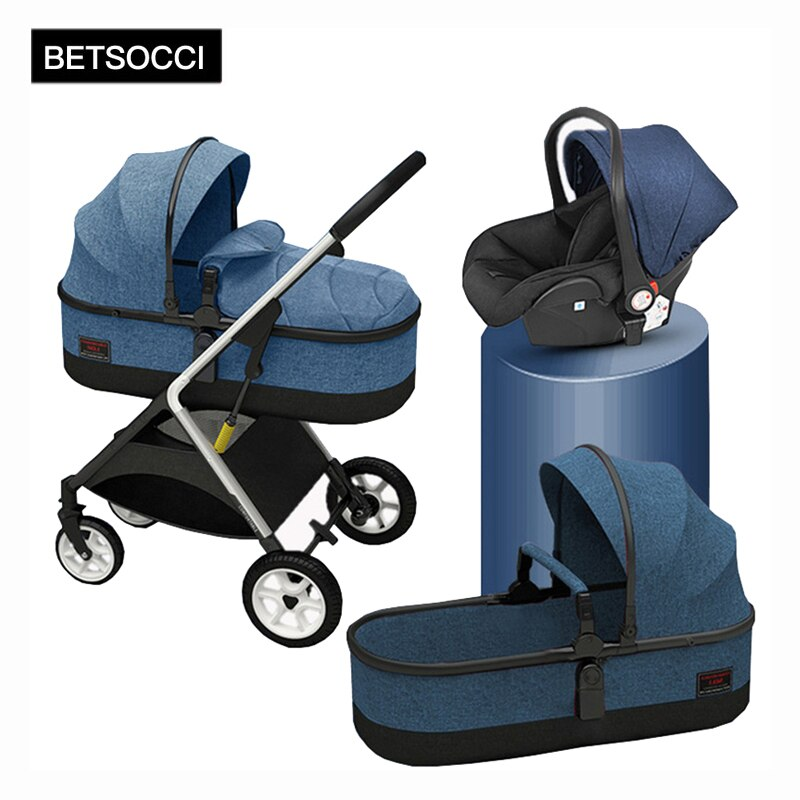 BETSOCCI Baby Stroller 2 in 1/ 3 in 1 Portable Travel Baby Carriage Folding Prams High Landscape Car for Newborn Baby