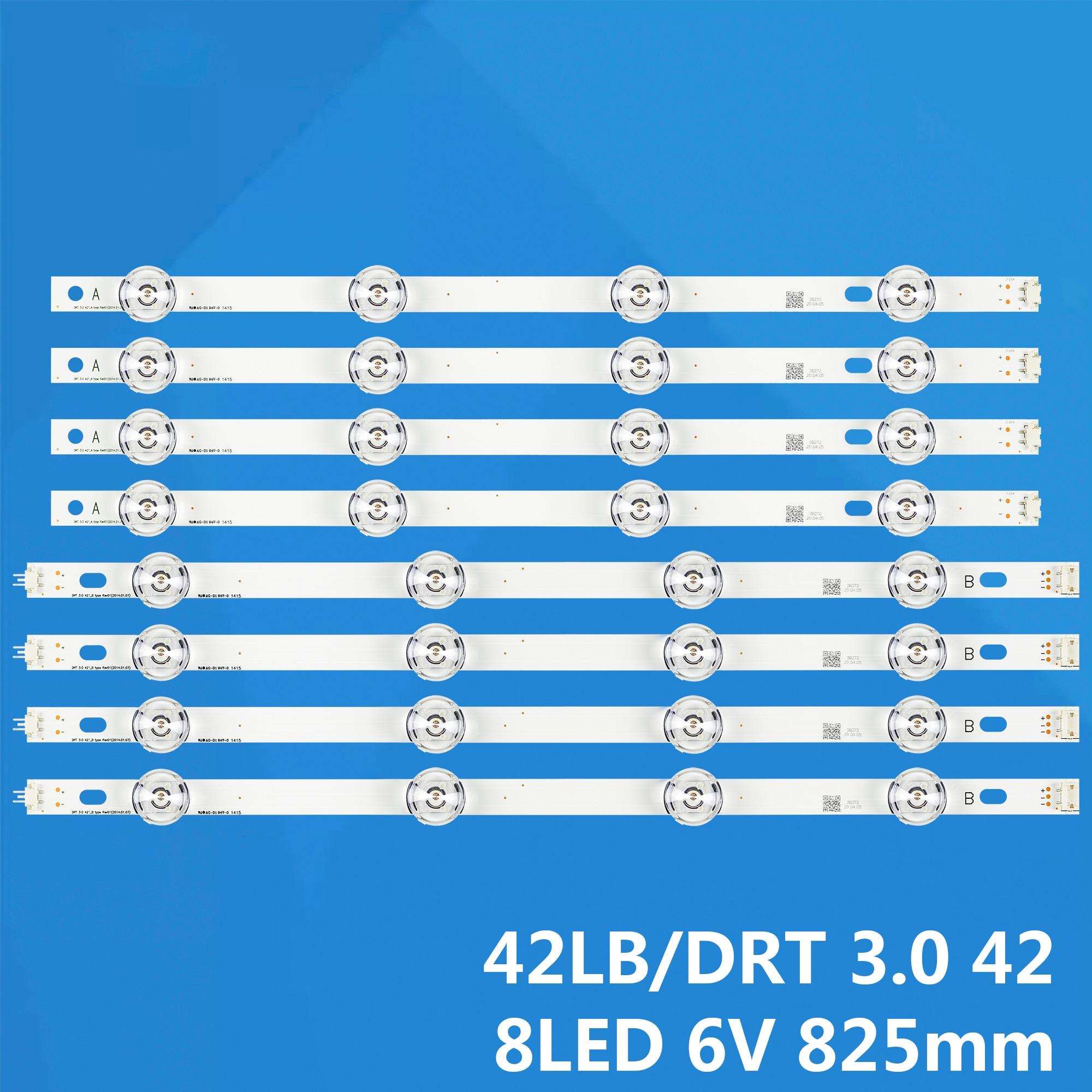 Nueva tira de 8 unids/set LED para LG LC420DUE 42LF5500 42LB6200 INNOTEK DRT 3,0 42 pulgadas A B 6916L-1957E 6916L-1956E
