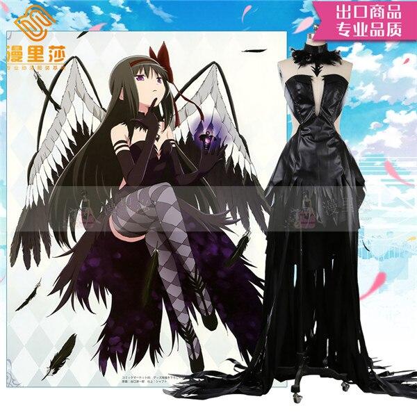 Vestido de Halloween Traje para Mulher Puella Magi Madoka Magica Demônio Akemi Homura Preto Cosplay