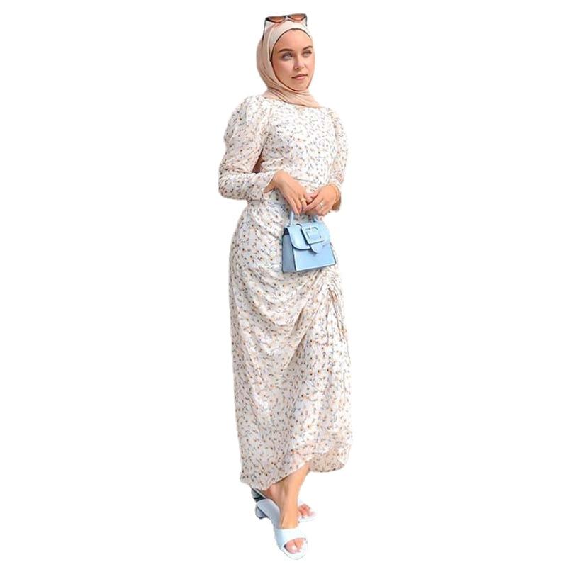 Muslim Fashion Turban Dress Printed Robe Women's Turkish Dress Dubai Islamic Clothing Long Dress for Muslim Women Dubai cross border women s clothing vintage printed palace style large swing dress dubai long dress clothes for muslim women