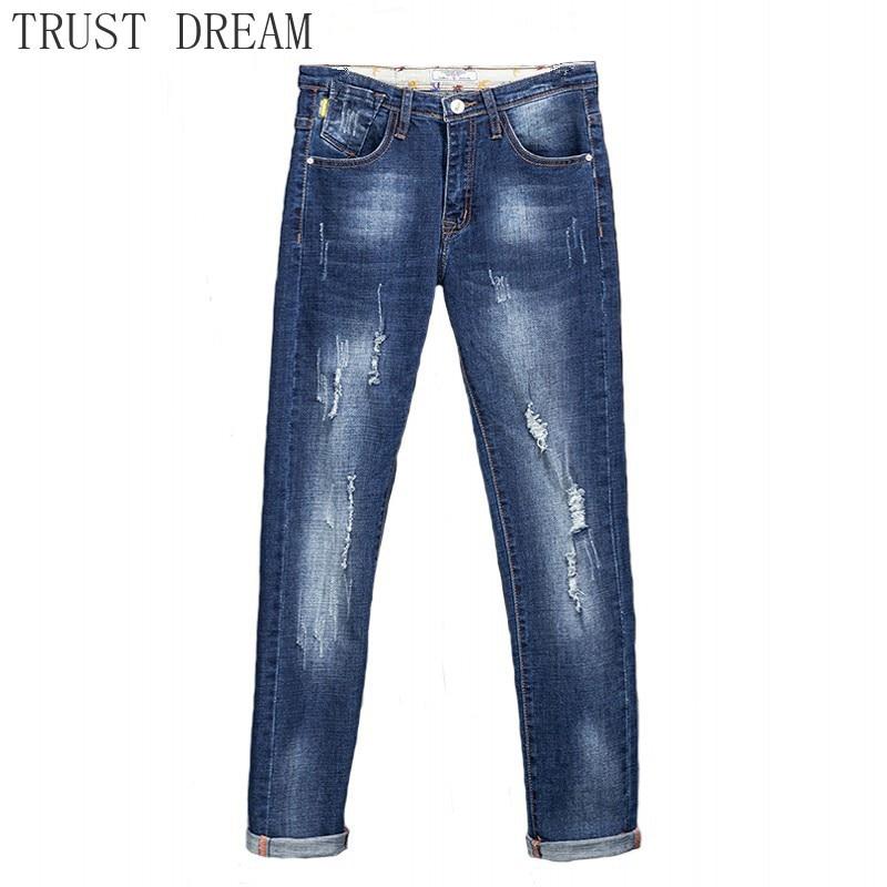 Мужские рваные джинсы с потертостями, облегающие Стрейчевые потертые повседневные Прямые джинсы в стиле хип-хоп, мужская одежда