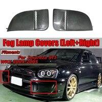 car carbon fiber fog light bumper bezel cover caps for subaru impreza wrx sti 04 05