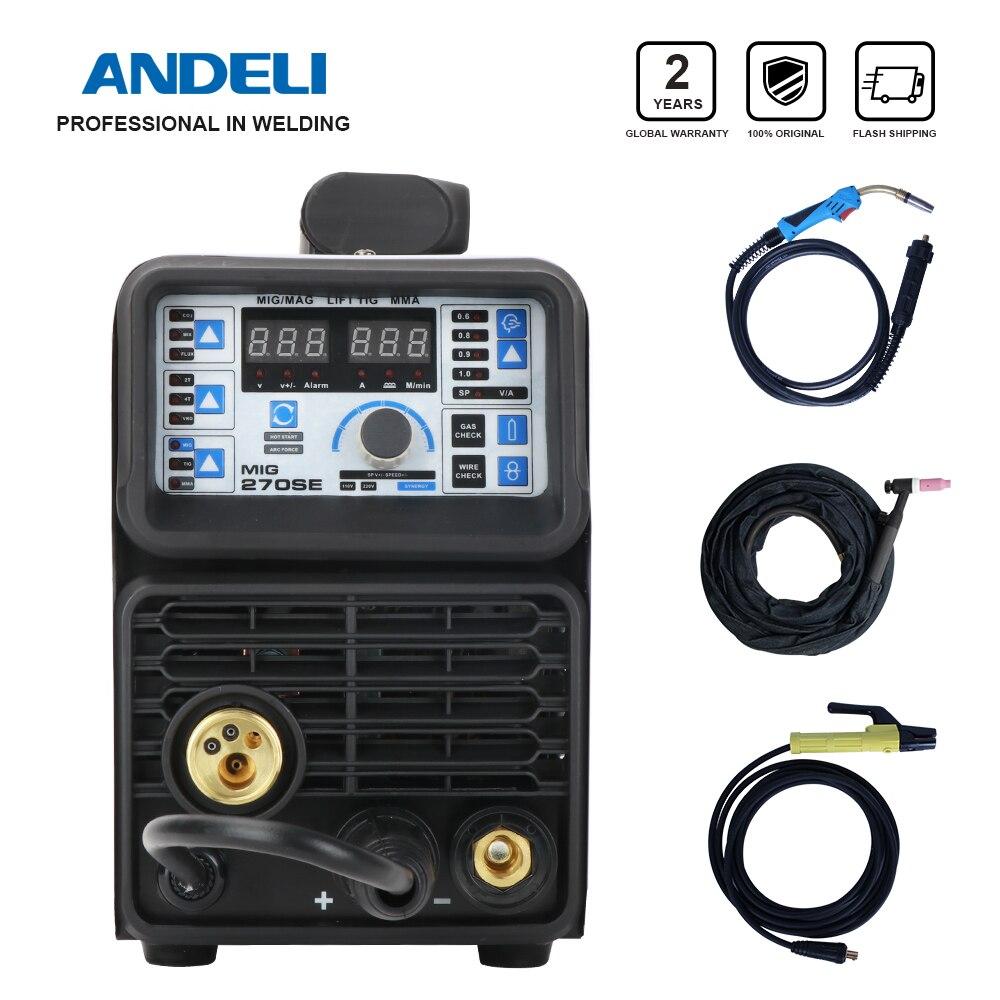 ماكينة لحام MIG-270SE Andeli بقوة 110 فولت/220 فولت من Tig آلة لحام بالقوس المعدني آلة لحام بدون غاز آلة لحام 3 في 1