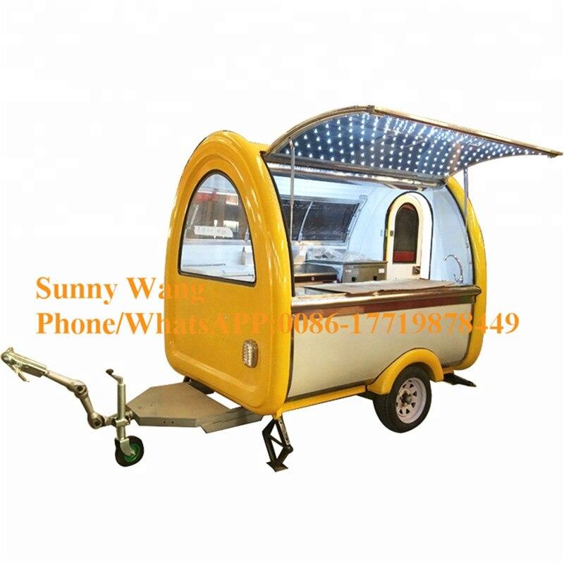 عربة طعام متنقلة 2.2 متر للبيع هامبرغر وجبات خفيفة قهوة هوت دوج مقطورة طعام صينية مركبة بإضاءة محيطة