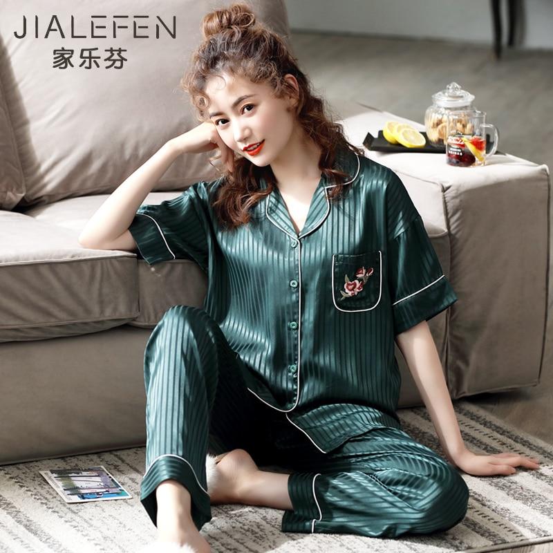 Jialefen منامة المرأة الصيف الحرير الجليد رقيقة قصيرة الأكمام السراويل المنزل ارتداء الصيف الحرير الاصطناعي الكورية مجموعة