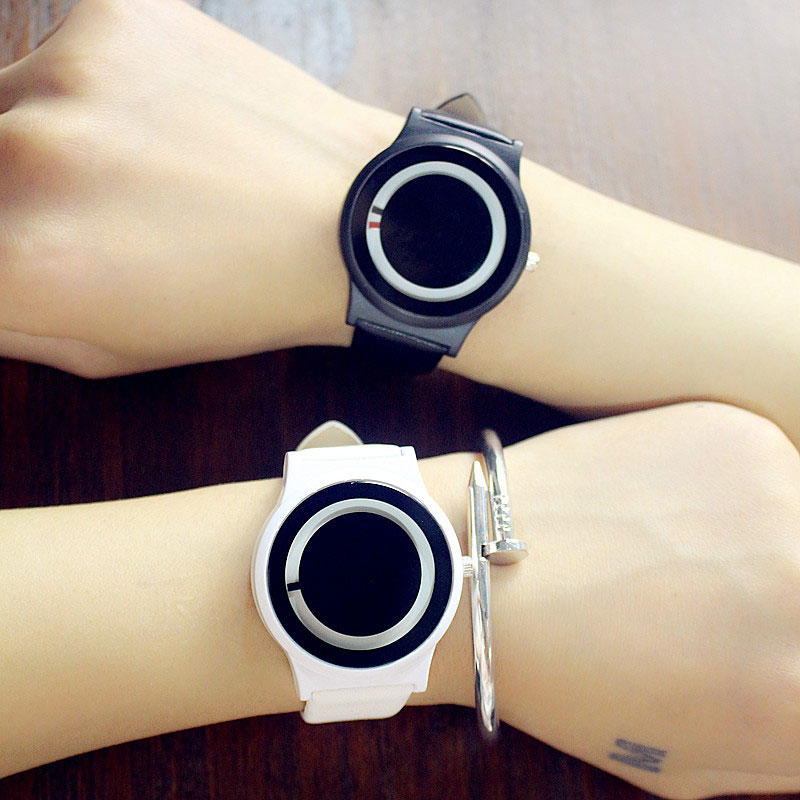 Couples Watch Harajuku Style Clock Candy Color PU Leather Strap Quartz Wrist Watches For Unisex Women Men TT@88 women s bus style pu leather band quartz wrist watch black