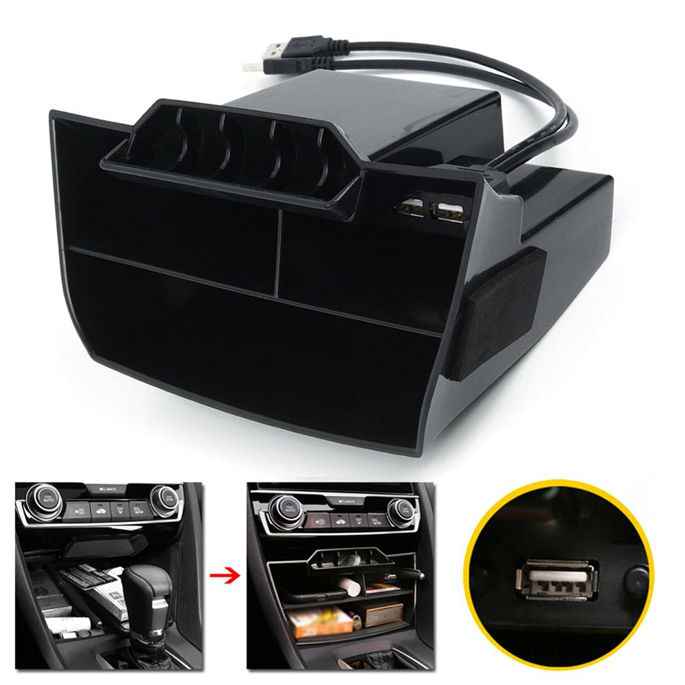 Venda quente carro preto abs interior console central caixa de armazenamento porta usb para honda civic 2016 2017 2018 2019 carro interior suprimentos