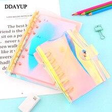 Kreative Regenbogen Laser Transparent Notebook tagebuch Abdeckung Glitter Lose blatt Notizbuch Planer Clip Büro Liefert A5 A6 A7