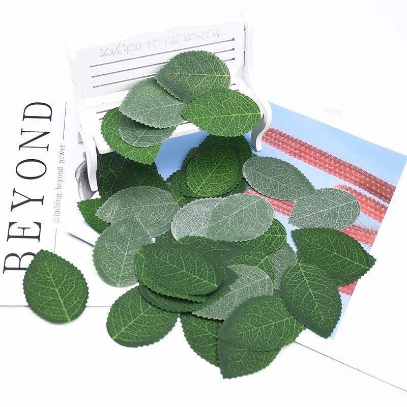 Fausses feuilles artificielles, accessoires pour la décoration de la maison, 100 pièces, pour une couronne de fleurs, pour une couronne de bonbonnière