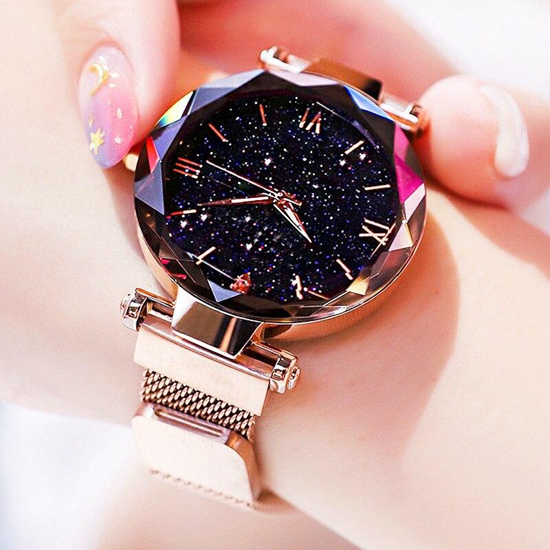 Women's Fashion Starry Sky Watches Magnet Buckle Mesh Belt Diamond Quartz Watch Women Dress Clock re