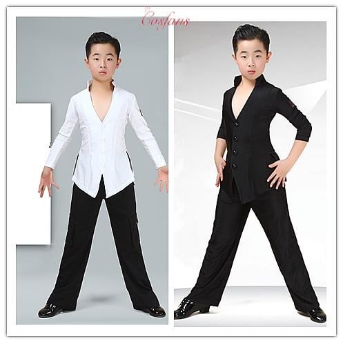 Camiseta de baile latino para niños Sexy con cuello en V negro pantalones de pierna ancha para niños trajes de competición de baile latino ropa de Cha para niños