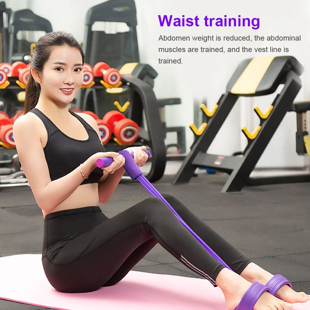 Cuatro tubo multifuncional cuerda Pedal elástico cuerda pierna extractor abdominales taburete pinza mano cintura puntos fuertes
