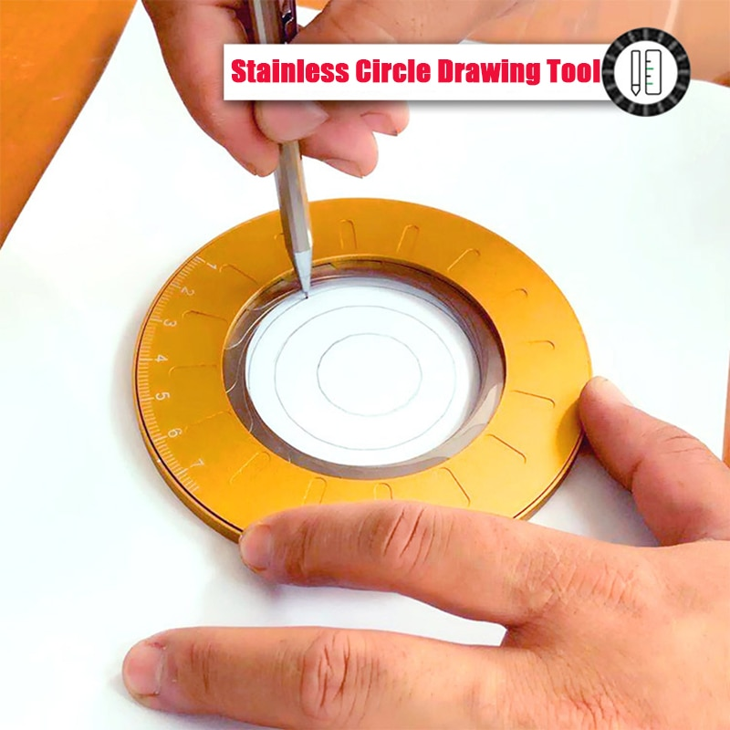 Industrial Adjustable Size DIY Precise Math Measuring Ruler Circle Drawing Rotary Tool Stainless Steel Round Drawing Circle Tool