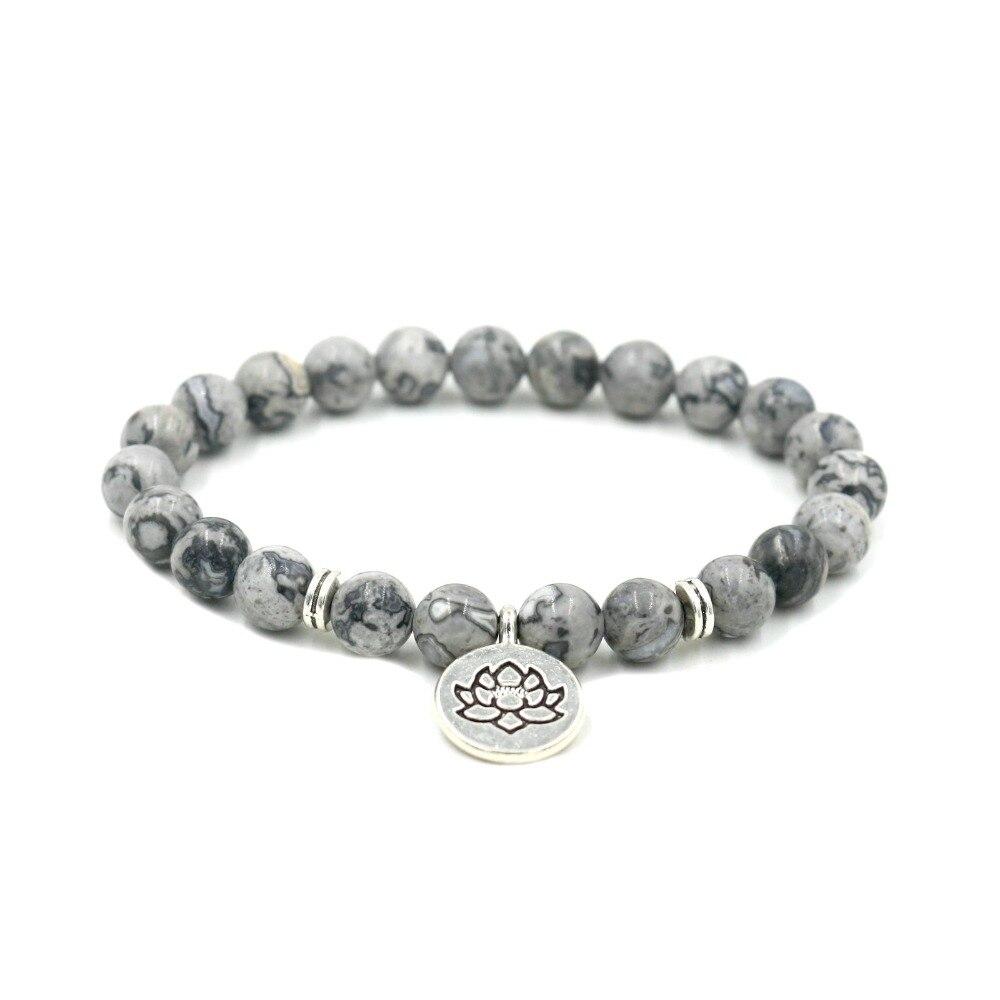 Brazalete de piedra gris howlita de mármol Buda OM Lotus Strand pulsera mujeres Yoga pulseras de meditación hombres joyas curativas