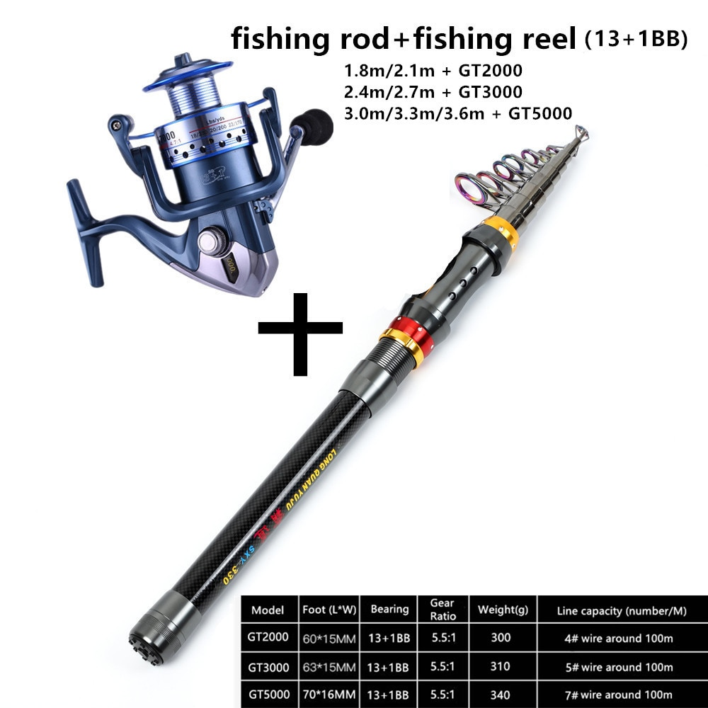 2021 Spinning Fishing Rod Travel Sea Pole 1.8m 2.1m 2.4m 2.7m 3.0m 3.3m 3.6m Carbon Telescopic Fishing Rod and reel combo set enlarge