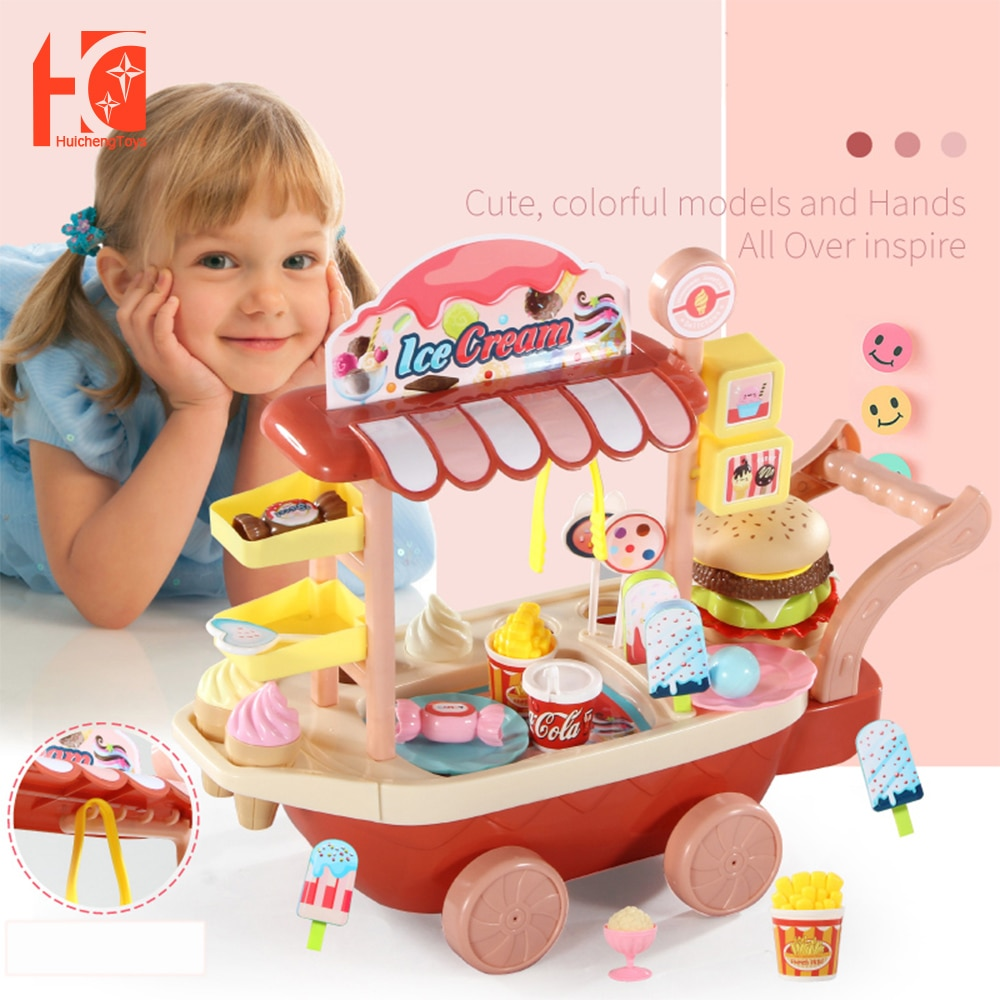20 33 38cm simulation mini trolley girl candy car ice cream shop supermarket children play toy ice cream cart Ice cream Toy Children Pretend Play Toys Simulation Candy Mini Push Car Early Education Toys For Kids Girl Gifts