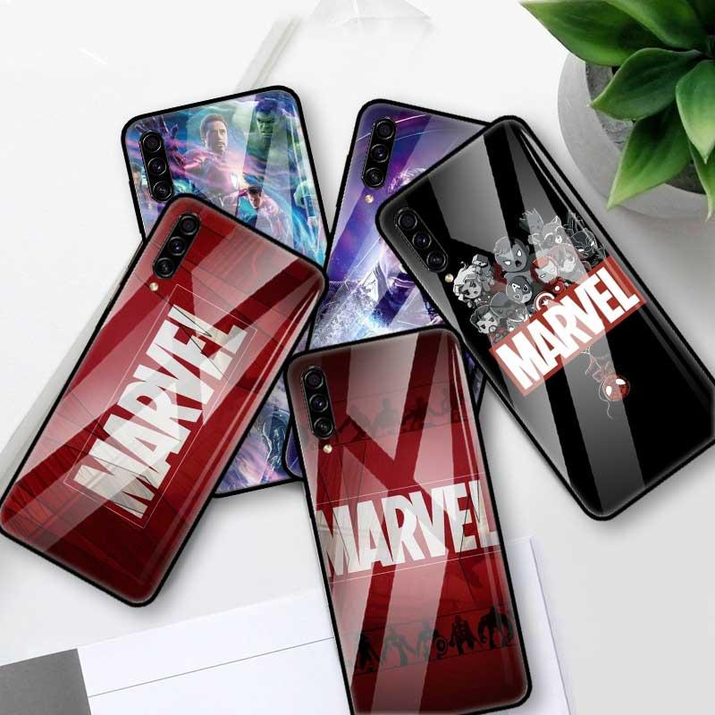 Logo de cómics marvel de caso para Samsung Galaxy A70 A50 A40 A30 A20 S A10 A91 J4 J6 más A51 A71 templado teléfono Coque Cas