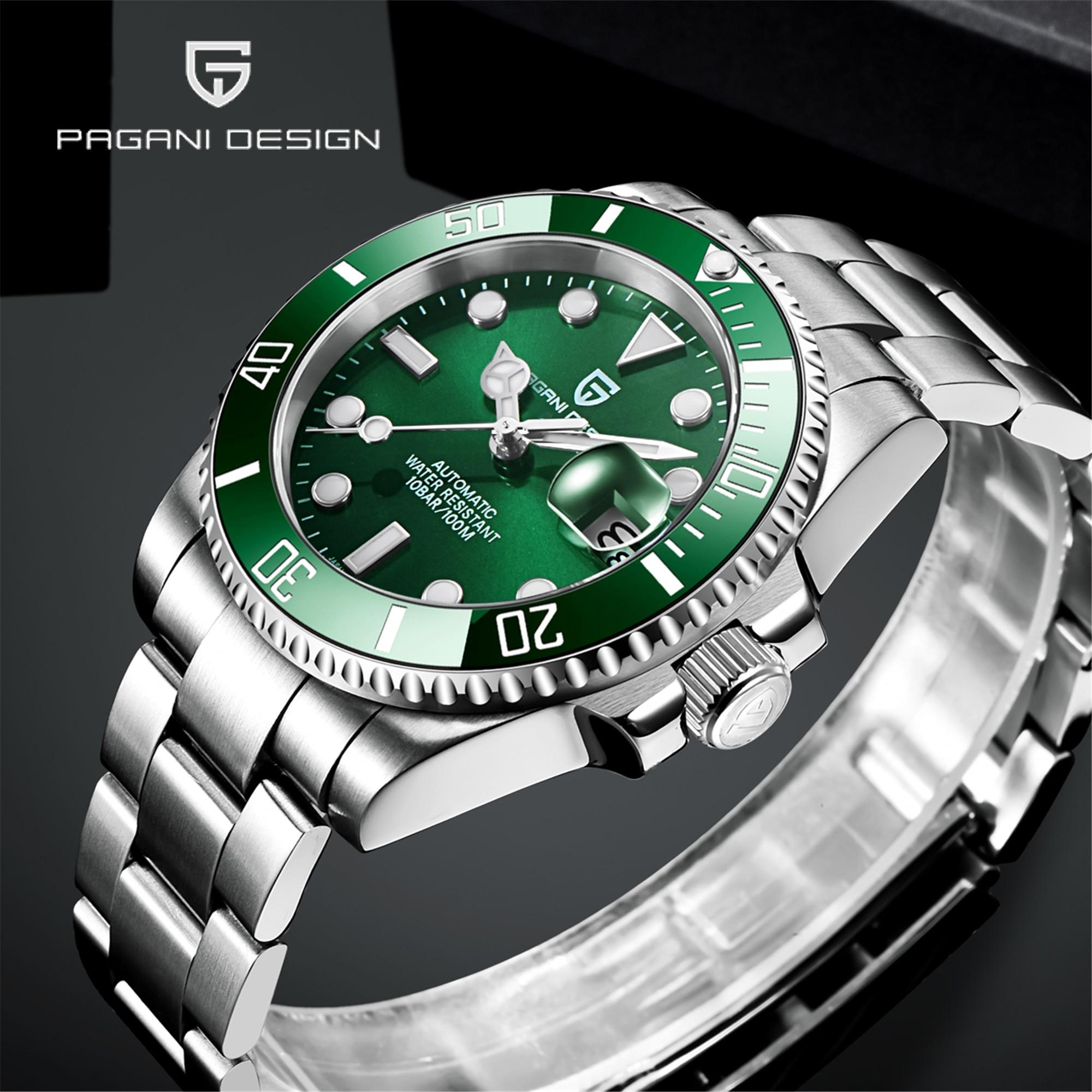 2021 Pagani تصميم أفضل الرجال الفاخرة التلقائي ساعة ميكانيكية 40 مللي متر الياقوت الزجاج NH35 تتحرك ساعة مضادة للماء Relogio Masculino