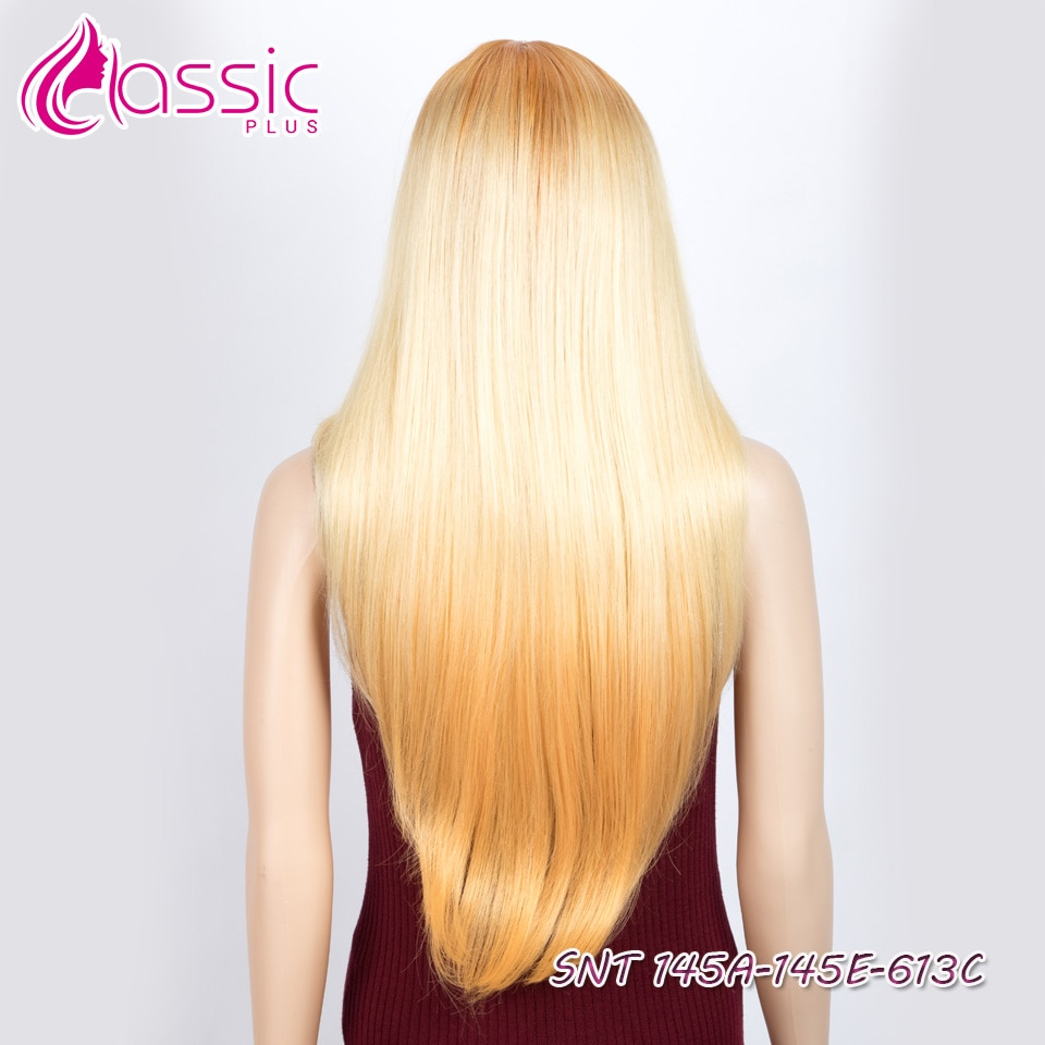 Classic Plus Synthetic Lace Front Wig 28 Inch Ombre Blonde Orange Straight Wig Cosplay wigs for Black Women Heat Resistant enlarge