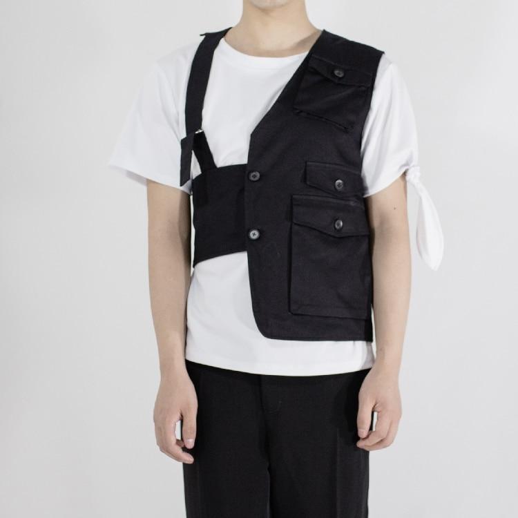 2021 fashion brand personality men's vest new hair stylist fashion irregular asymmetrical slim vest singer costumes vest