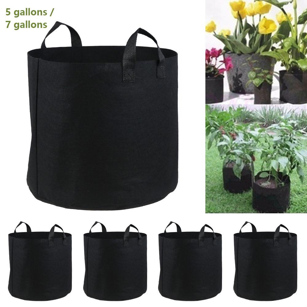 5 pçs sacos de plantas 5/7 galões planta flor crescer sacos pote casa ferramentas jardim batata morango vegetal jardin crescer recipiente potes