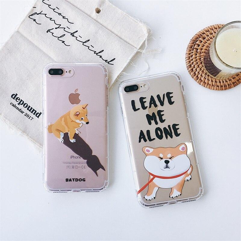 Japón ins Shiba Inu perro Akita Linda caja de teléfono de dibujos animados para iPhone 6 6s 7 7 8 Plus X Xs X Max Xr claro cubierta suave de silicona Fundas Capa