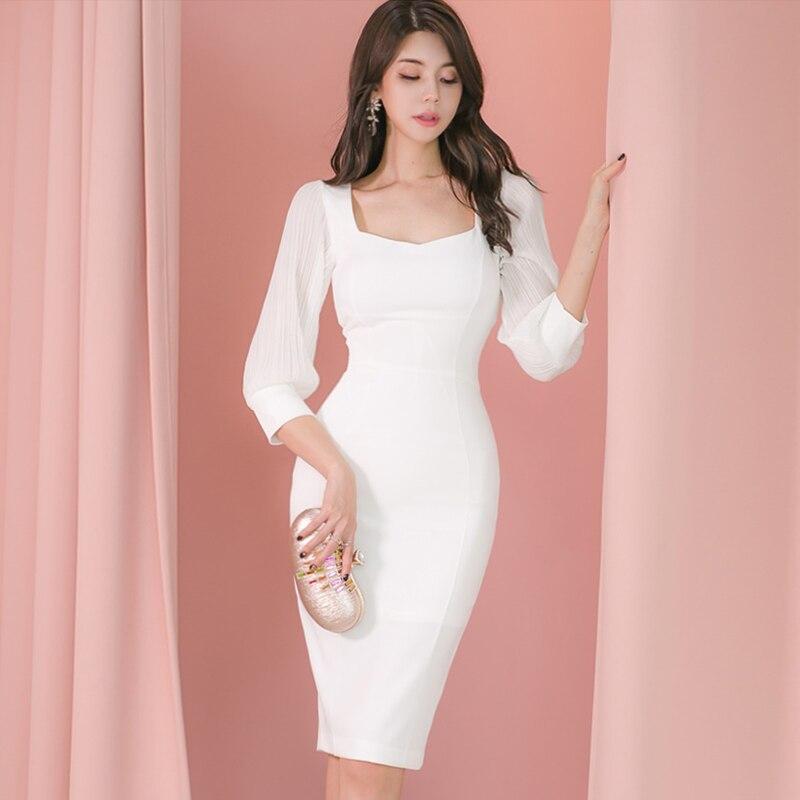 2020 nuevo vestido de fiesta mujeres elegante blanco cuadrado-Cuello vestido de lápiz ajustado ceñido al cuerpo Formal vestido de trabajo Club invierno primavera otoño