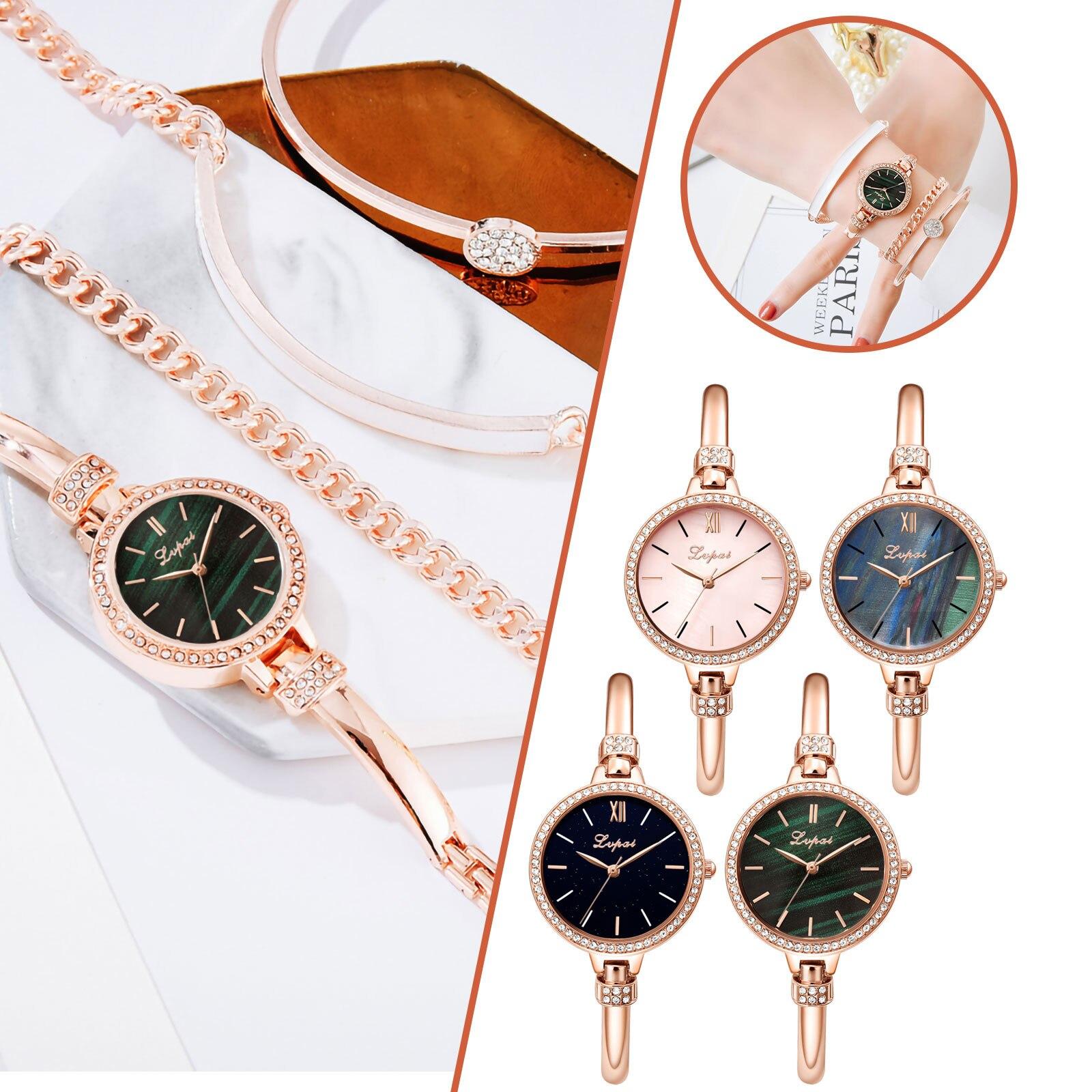 LVPAI Ladies Watch Luxury Watches 2021 Gold Women New Fashion Valentine's Day Gift Set Luxury Banquet Jewelry Dress Ladies Watch