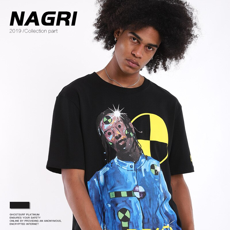 Nagri fashion2020 asap rocky harajuku novo estilo limite de caráter curto rapper hip hop homens de grandes dimensões t camisa streetwear