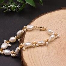 GLSEEVO-brin de perles blanches naturelles baroques, Bracelets pour femme, cadeau, de luxe, ajustable à la main, Bracelet à breloques, GB0928