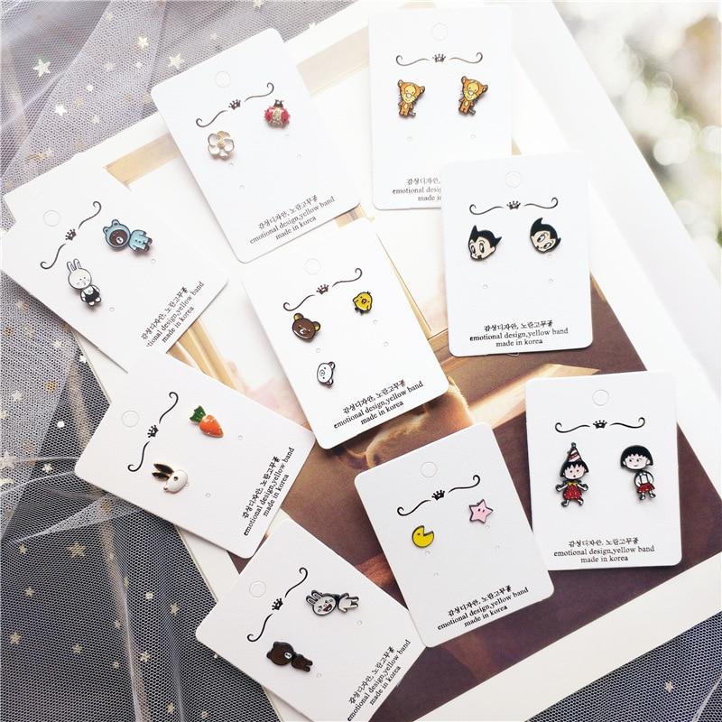 Korean Little Cute Cartoon Bear Rabbit Carrot Star Tiger Simple Woman Girls Stud Earrings Fashion Jewelry Holiday-JQD5-W2
