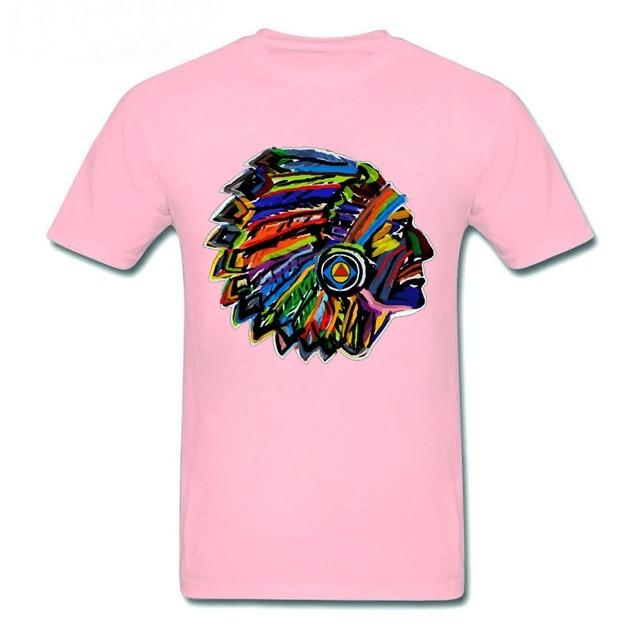 Camiseta de talla grande para hombre, camiseta de tocado de pluma india indígena, Camiseta deportiva para correr, camiseta de manga corta para hombre, camiseta