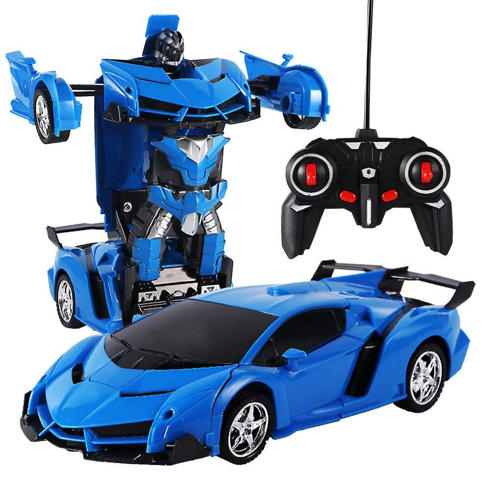 RC Car One Key Deformation Robot Sports Car Model Robot Toy One Key Rotation Dancing Cool Deformation Car