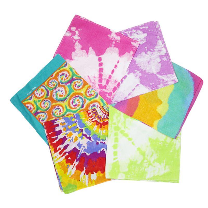 Pañuelo cuadrado con estampado de remolino colorido arcoíris y pañuelo de estilo Punk callejero Hip Hop para mujer y hombre