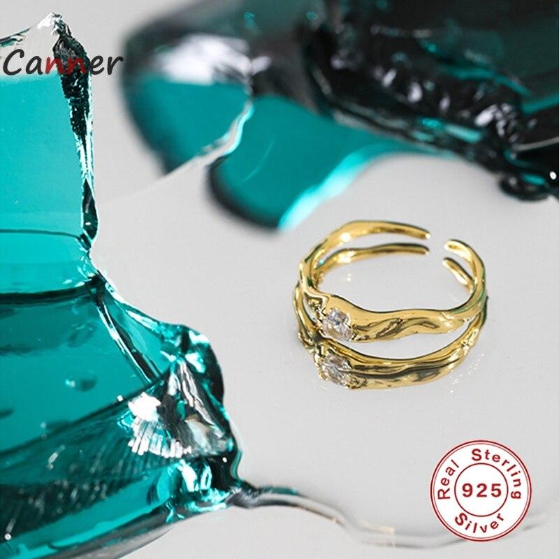 GS S925 de plata esterlina Zircon blanco ajustable anillos para las mujeres...