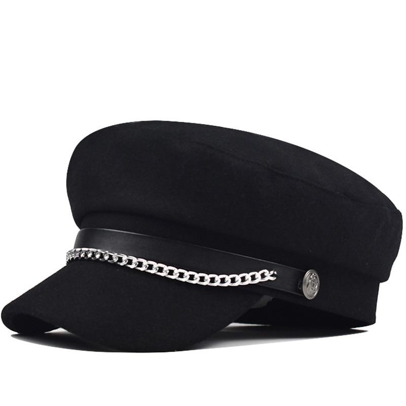 utumn Winter Chain Black Wool Military Berets for Women Female Flat Army Cap Salior Hat Girl Travel