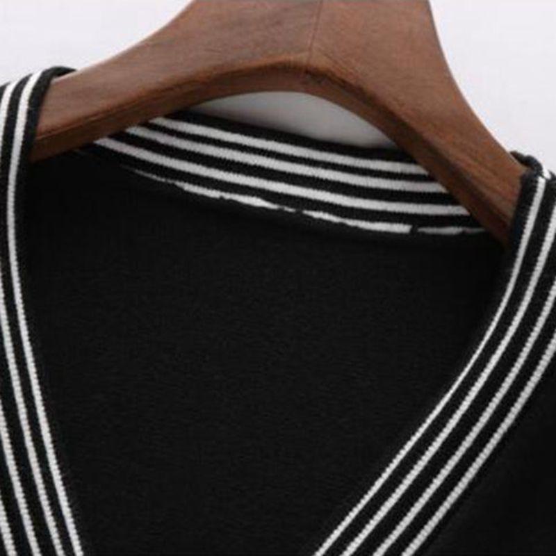 MASTGOU Oversized Spring Autumn Cardigan For Women V Neck Sweater Big Pocket Soft Woman Knitted Coat Vintage Striped Jumper Tops