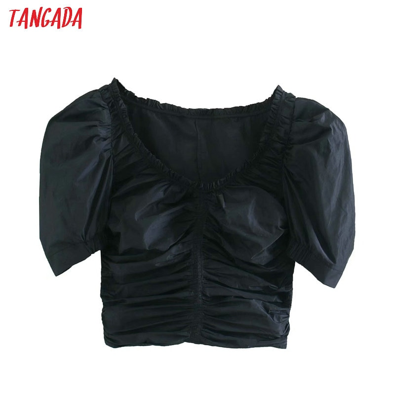 Tangada mujeres retro negro plisado crop Blusa de manga corta 2020 verano chic Mujer sexy slim shirt tops 4M150